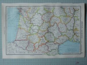 1952 MAP ~ FRANCE SOUTH WEST BORDEAUX TOULOUSE TARN BASSES PYRENEES