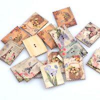 30pcs botones de costura madera sello vendimia scrapbooking DIY artesanías