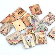 30pcs Wooden Sewing Buttons Vintage Postage Stamp Scrapbooking Handcrafts New