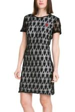 DESIGUAL PATRI SHIFT DRESS 36-44 8-16 RRP£89 BLACK WHITE CROCHET HEART
