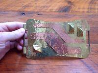 Vintage 80s Handmade Hammered Brass Copper Large Statement Belt Buckle SIGNED