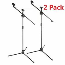 2 Pack Microphone Boom Telescoping Stand Tripod Holder Mic Clip Arm Studio Stage