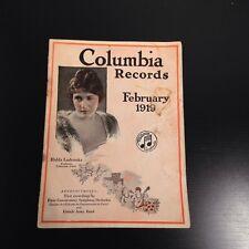 COLUMBIA RECORDS February 1919 Catalogue/Catalog