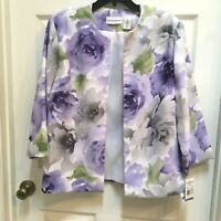 Alfred Dunner Plus Size 18 Open Style Jacket Violets NWT