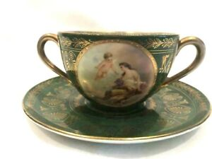 ROYAL VIENNA BOUILLON CUP & SAUCER HAND PAINTED SIGNED