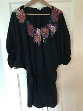 Monsoon Navy Blue Sequin Embroidered Women Dress Size 8 100% Silk Floral Flower