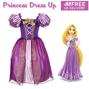 Girls Rapunzel Tangled Fancy Dress Up Princess Party Cosplay Costume Outfit Prom