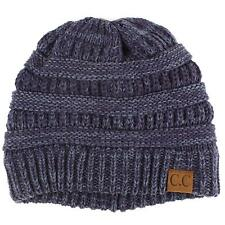 Unisex 2 Tone Warm Chunky Thick Stretch Knit Slouch Beanie Skull Ski Hat Navy
