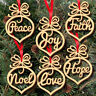 6PCS Christmas Wooden Heart Wish Hanging Decorations Xmas Tree Party Ornaments