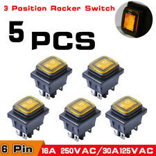 5x 3 Position On-Off-On 6Pin DC 12V Car Boat Toggle LED Rocker Switch Latching
