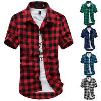 Fashion Mens Summer Casual Shirts Short Sleeve Lattice Shirts Slim Fit Shirt Top