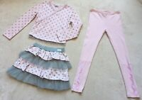 Naartjie Girls Ouitfit, Size 7, 3 Pc, Long-Sleeved Top, Pants, & Skirt Pink Gray