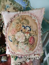 Stunning antique needlepoint tapestry 1840s cushion / pillow