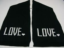 "LOVE - BLACK & WHITE - OLD NAVY - 100% ACRYLIC - 10"" X 68"" SCARF!"