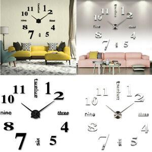 Design Acryl Wanduhr 3D Wandtattoo Modern DIY Deko Spiegel Wohnzimmer