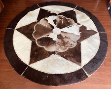 Vintage Genuine Leather Round Cowhide Patchwork Rug Animal Skin Hair Fur Star