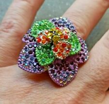 grande anello da cocktail fiore cristalli policromi flower rhinestones big ring