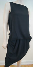 PAULE KA Black Sleeveless Drop Waist Pleated Skirt Formal Evening Dress 38 UK10