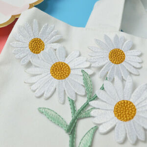 4pcs/set Daisy Flower Iron On Clothe Badge Sew Patch Embroidery DIY Hole Repair