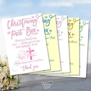 Christening Sign Baptism Card Postbox Post Box Donations Decoration Personalised