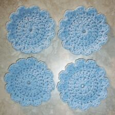 SET OF 4 ROUND COASTERS, Crochet, NEW, Pastel Blue, HANDMADE, Original Design