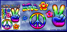 Peace Hippy Small Pack Car Stickers Decals for Car Motorbikes - ST00007_SML