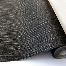 Glitz Black Glitter Textured Quality DESIGNER Luxury Vinyl Wallpaper A11404