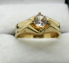 Gents 14 carat Gold And Spinel Solitaire Ring Size T.1/2