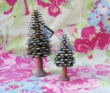 Bavarian Frosty Wood Christmas Tree Set of 2 Unique! 6 and 4 inches New