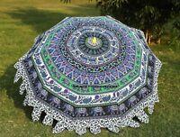 Elefant Mandala Rund Garten Sonnenschirm Regenschirm Terrassen Außen Indisch