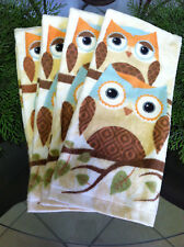 New listing Set of 4 Nwot Mainstays Cotton Owl Towels Beige Brown Orange Blue Green Yellow