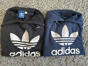 ADIDAS ORIGINALS Men Trefoil Hoodie Sweatshirt Pullover NAVY & BLACK SIZE S + M