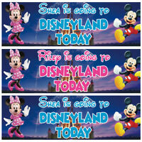2 x personalised We are going to Disney land banner Mickey/Minnie Mouse kid