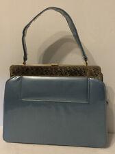 Vintage Lou Taylor Miami Florida Usa 1960s Pearl Blue Patent Leather Purse T6