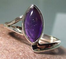 Sterling silver everyday cab amethyst ring UK L-L¼/US 6