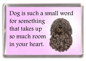"""Hungarian Puli Dog Fridge Magnet """"Dog is such a small word......"""" by Starprint"""