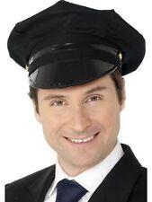 Unisex Black Chauffeur Hat Fancy Dress Mens Fun Accessory Womens Taxi Driver