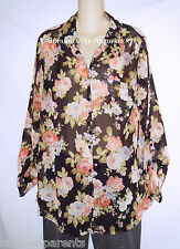 AVENUE® – BLOUSE - JACKET – SEMI-SHEER – BLACK - FLORAL – SIZE 14/16 – NEW $35