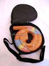 Travel Compact Spiral Didgeridoo+Bag Hand-Carved Mahogany Wood swirl snail shell