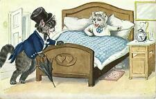 Cats, Cat Gentleman Arriving Late and his Angry Wife Waiting, comic old postcard