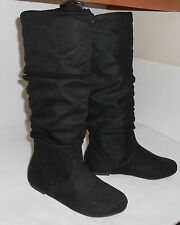 women new BLACK flat slouch comfortable ROUND TOE Knee boots  Size   5.5