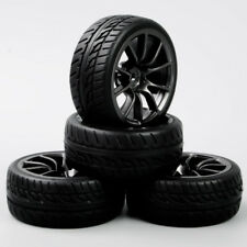 4Pcs 12mm Hex Rubber Tires&Wheel Rims For HSP HPI RC 1:10 On-Road Racing Car
