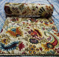 Kantha Indian Handmade Quilt Bedspread Cotton Blanket Floral Screen Print Ethnic