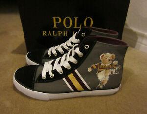 Big Kids Polo Ralph Lauren Solomon Canvas Mid Bear Shoes Grey Rf102106 Size 5