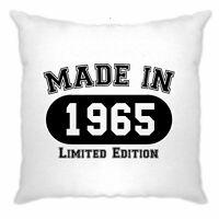 Birthday Cushion Cover Made in 1965 Limited Edition Joke Gift Idea Novelty Logo