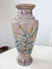 Antique Bohemian Czech Harrach? Hand Painted Taupe Glass Vase - Birds & Cattails