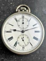 """high class Longines pocket chronograph Taschenuhr mit """"Genfer Streifen Glasboden"""