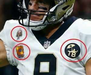 2019 New Orleans Saints Drew Brees 4⭐CAPTAIN Crucial Catch iron-on 3-Patch Set