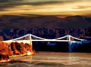 Menai Suspension Bridge Anglesey Limited Art Print by Sarah Jane Holt