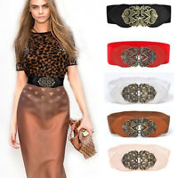 Women Stretch Waist Belts Vintage Buckle Wide Elastic Cinch Dress Boho Waistband